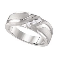 0.25 CTW Mens Diamond Wedding Anniversary Ring 10KT White Gold - REF-67X4Y