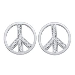 0.15 CTW Diamond Peace Sign Stud Earrings 10KT White Gold - REF-13X4Y
