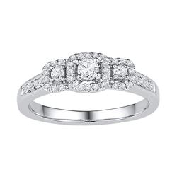0.38 CTW Diamond 3-stone Bridal Engagement Ring 10KT White Gold - REF-34W4K