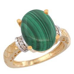 Natural 5.53 ctw Malachite & Diamond Engagement Ring 14K Yellow Gold - REF-53Y9X