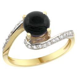 Natural 0.88 ctw onyx & Diamond Engagement Ring 10K Yellow Gold - REF-41R7Z