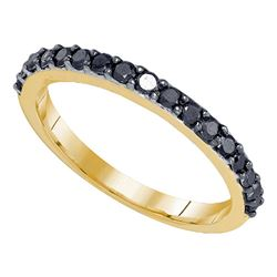 0.50 CTW Black Color Diamond Ring 10KT Yellow Gold - REF-14X9Y