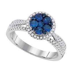 0.87 CTW Blue Sapphire Cluster Circle Diamond Ring 14KT White Gold - REF-97X4Y