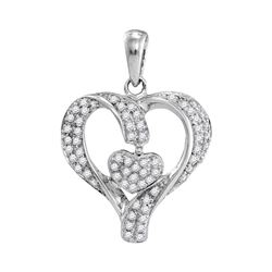 0.17 CTW Diamond Heart Love Pendant 10KT White Gold - REF-16F4N