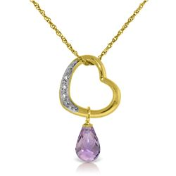 Genuine 2.28 ctw Amethyst & Diamond Necklace Jewelry 14KT Yellow Gold - REF-40F7Z