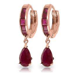 Genuine 4.8 ctw Ruby Earrings Jewelry 14KT Rose Gold - REF-71T5A
