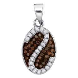 0.25 CTW Cognac-brown Color Diamond Cluster Pendant 10KT White Gold - REF-14Y9X
