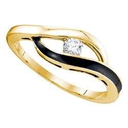 0.12 CTW Diamond Solitaire Black-tone Promise Bridal Ring 10KT Yellow Gold - REF-18W2K