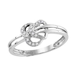 0.05 CTW Diamond Heart Love Ring 10KT White Gold - REF-14F9N