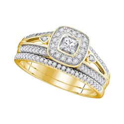 0.50 CTW Princess Diamond Halo Bridal Engagement Ring 10KT Yellow Gold - REF-71F9N