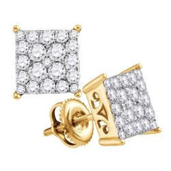 0.95 CTW Diamond Square Cluster Stud Earrings 10KT Yellow Gold - REF-59K9W
