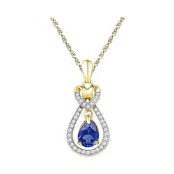 0.16 CTW Oval Created Blue Sapphire Solitaire Pendant 10KT Yellow Gold - REF-13M4H