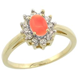 Natural 0.67 ctw Coral & Diamond Engagement Ring 10K Yellow Gold - REF-38H4W