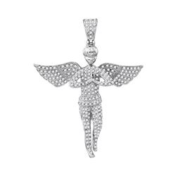 1 CTW Mens Diamond Angel Wings Charm Pendant 10KT White Gold - REF-56W2K