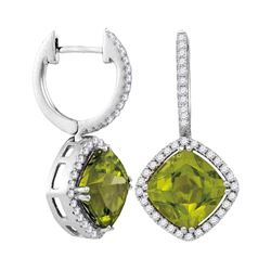 2.13 CTW Princess Peridot Solitaire Diagonal Square Diamond Earrings 14KT White Gold - REF-134M9H