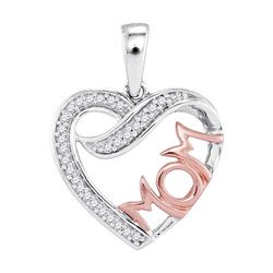 0.08 CTW Diamond Mom Heart Pendant 10KT Two-tone Gold - REF-12X2Y