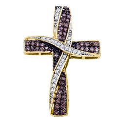 0.57 CTW Cognac-brown Color Diamond Bound Cross Pendant 14KT Yellow Gold - REF-43F4N