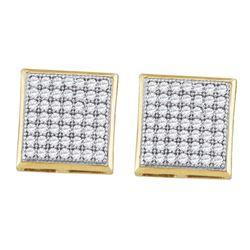 0.33 CTW Diamond Square Cluster Earrings 10KT Yellow Gold - REF-24H2M