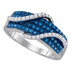 0.68 CTW Blue Color Diamond Wrap-aStrand Ring 10KT White Gold - REF-52N4F