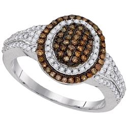 0.50 CTW Brown Color Diamond Oval Cluster Ring 10KT White Gold - REF-40N4F