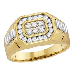 0.58 CTW Mens Diamond Octagon Cluster Ribbed Ring 14KT Two-tone Gold - REF-67K4W