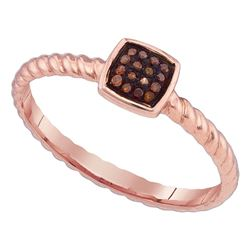 0.05 CTW Red Color Diamond Square Cluster Roped Ring 10KT Rose Gold - REF-13K4W