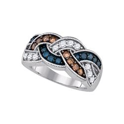 1 CTW Brown Blue Color Diamond Woven Ring 10KT White Gold - REF-57W2K