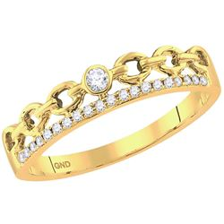 0.08 CTW Diamond Rolo Link Stackable Ring 10KT Yellow Gold - REF-13W4K