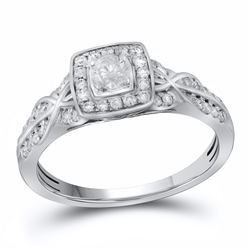 0.49 CTW Diamond Solitaire Bridal Engagement Ring 14KT White Gold - REF-56F2N