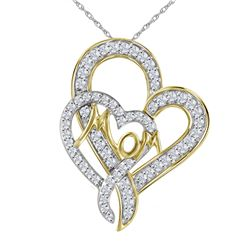 0.33 CTW Diamond Double Heart Mom Pendant 10KT Yellow Gold - REF-18M7H
