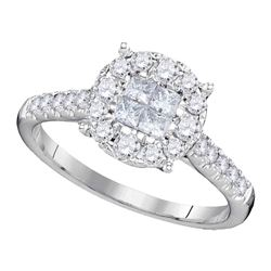 0.75 CTW Princess Diamond Soleil Cluster Bridal Engagement Ring 14KT White Gold - REF-75X2Y