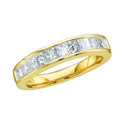 0.50 CTW Princess Channel-set Diamond Single Row Ring 14KT Yellow Gold - REF-44X9Y
