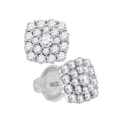 1.01 CTW Diamond Cluster Earrings 14KT White Gold - REF-89X9Y