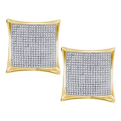 2.01 CTW Diamond Square Kite Cluster Screwback Earrings 10KT Yellow Gold - REF-142M4H