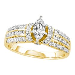 1.03 CTW Marquise Diamond Solitaire Bridal Engagement Ring 14KT Yellow Gold - REF-165K2W