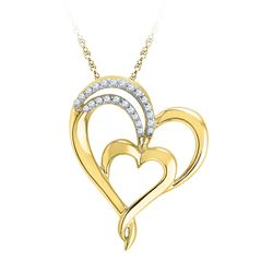 0.12 CTW Diamond Heart Love Pendant 10KT Yellow Gold - REF-16M4H