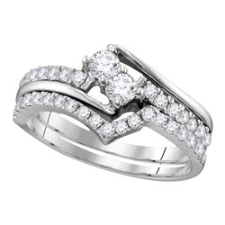 1.51 CTW Diamond 2-stone Bridal Wedding Engagement Ring 14KT White Gold - REF-149K9W