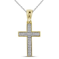 0.15 CTW Mens Diamond Small Cross Charm Pendant 10KT Yellow Gold - REF-25F4N
