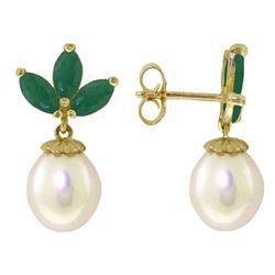 Genuine 9.5 ctw Emerald & Pearl Earrings Jewelry 14KT White Gold - REF-35P2H
