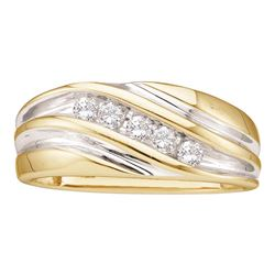 0.25 CTW Mens Diamond Wedding Anniversary Ring 14KT Two-tone Gold - REF-41F9N