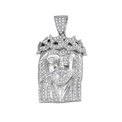 0.60 CTW Mens Diamond Jesus Christ Messiah Charm Pendant 10KT White Gold - REF-86W2K