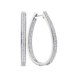 1 CTW Diamond Oval Hoop Earrings 10KT White Gold - REF-82F4N