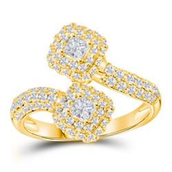 1.51 CTW Princess Diamond 2-stone Hearts Bypass Bridal Ring 14KT Yellow Gold - REF-161W2K