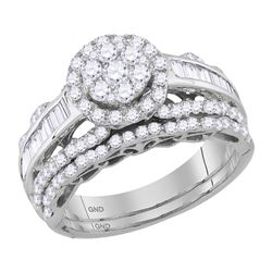 1.52 CTW Diamond Cluster Bridal Engagement Ring 14KT White Gold - REF-132X2Y