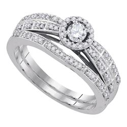 0.33 CTW Diamond Halo Bridal Engagement Ring 10KT White Gold - REF-50K9W
