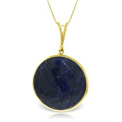 Genuine 23 ctw Sapphire Necklace Jewelry 14KT Yellow Gold - REF-48A3K