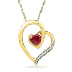 0.03 CTW Created Ruby Heart Love Pendant 10KT Yellow Gold - REF-10N5F