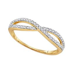 0.12 CTW Diamond Crossover Ring 10KT Yellow Gold - REF-14M9H