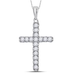 0.25 CTW Diamond Cross Faith Pendant 10KT White Gold - REF-18N2F