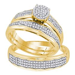 0.50 CTW His & Hers Diamond Cluster Matching Bridal Ring 10KT Yellow Gold - REF-57X2Y
